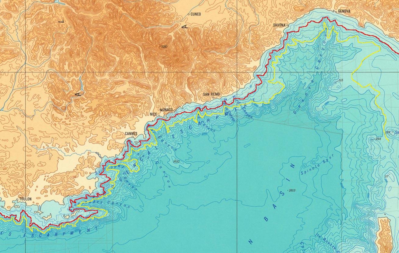Batimetria mediterranea: 4. costa ligure-provenzale